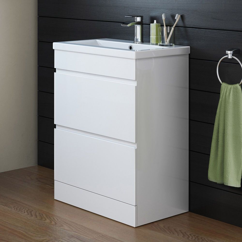 Designer Bathroom Gloss White Storage Cabinet u0026 Ceramic Basin Vanity Unit MV808 & Designer Bathroom Gloss White Storage Cabinet u0026 Ceramic Basin Vanity ...