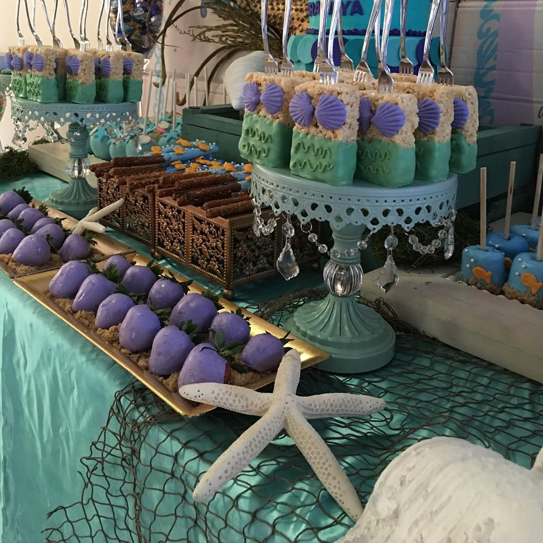 The Little Mermaid Inspired Dessert Table Sea Birthday Party Mermaid Birthday Party Mermaid Theme Party