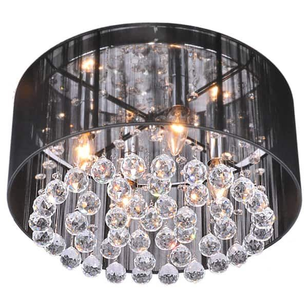 Silver Orchid Taylor 4 Light Black Shade Chrome Crystal Flushmount Chandelier House And Chandeliers