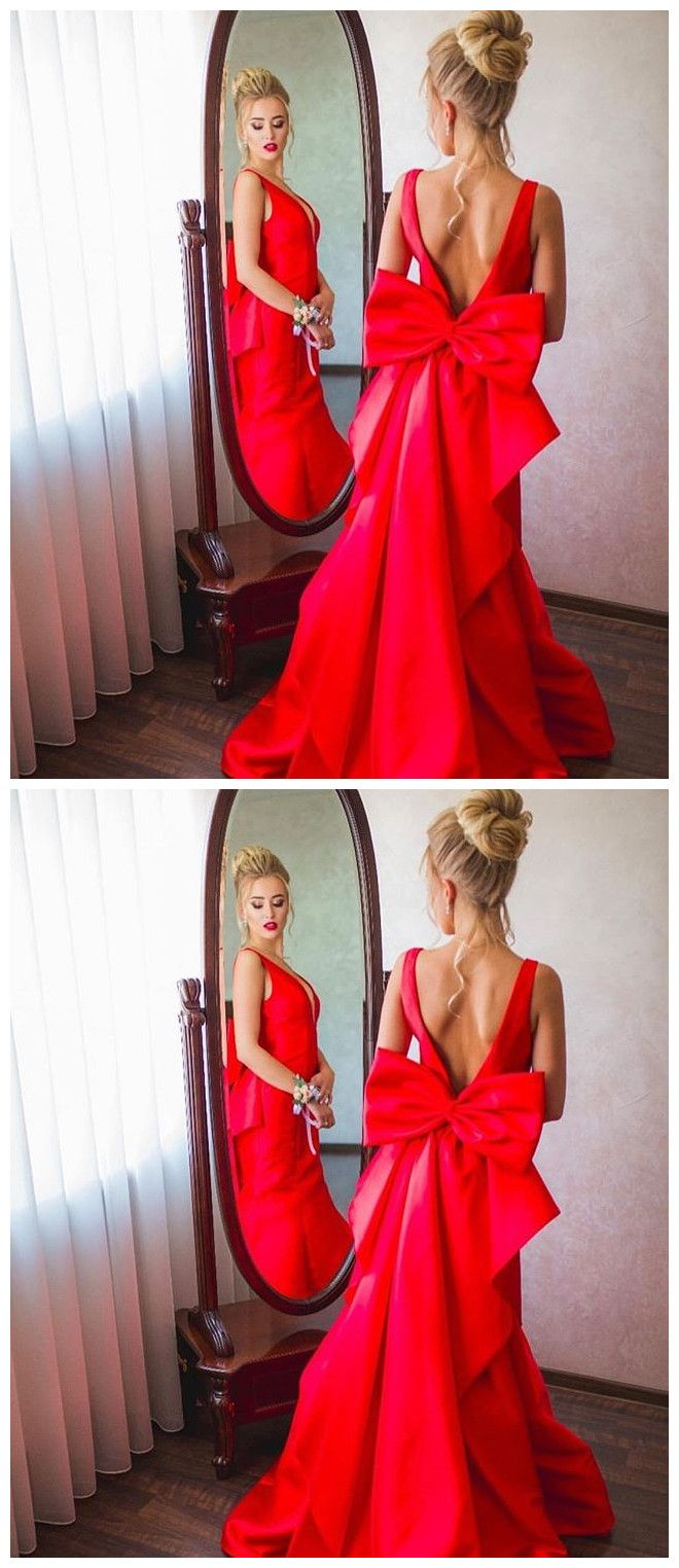 Open back prom dress with bow prom dresses red beautiful dress