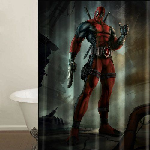 Deadpool Marvel Shower Curtain Machine Washable Fabric With