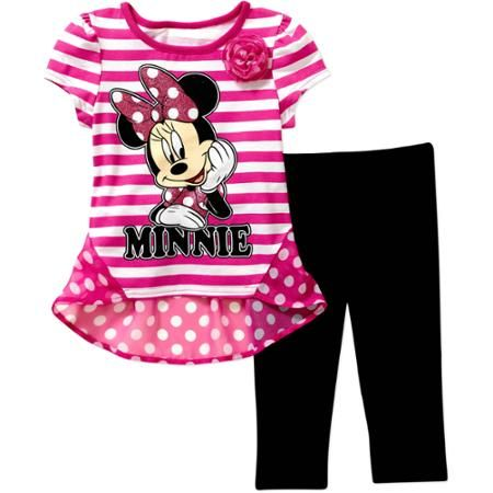 1848e1069f08 Disney Minnie Mouse Toddler Girl Hi-Low Tunic and Leggings Outfit Set -  Walmart.com