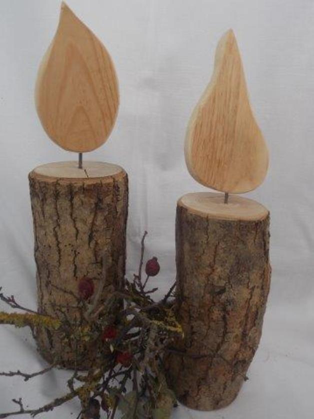Schöne Kerze aus Holz (groß) - Einrichtungsideen #weihnachtenholz