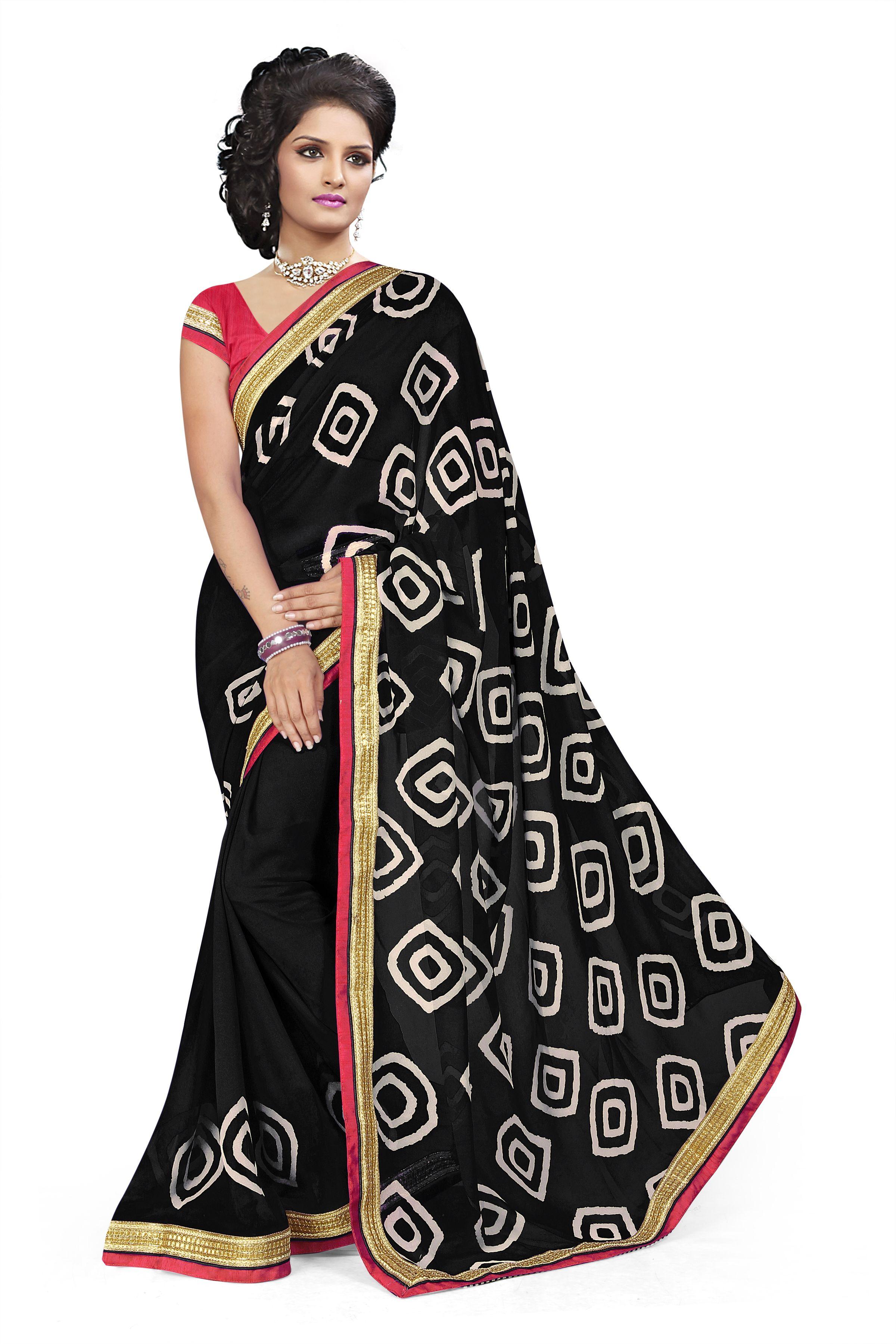 Black colour saree images sku   fabric  georgette pallu fabric georgette blouse fabric