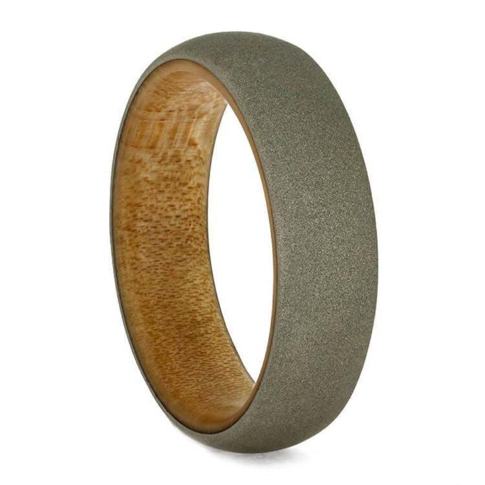Sandblasted White Gold Ring Wedding Band With Bamboo Wood Sleeve 3716 White Gold Rings Precious Metal Ring White Gold