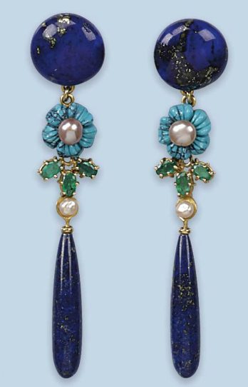 A PAIR OF LAPIS LAZULI AND GEM-SET EARRINGS   Each designed as a bouton-shaped lapis lazuli button suspending a turquoise and cultured pearl flower, three emeralds and a lapis lazuli drop, 8.0 cm long