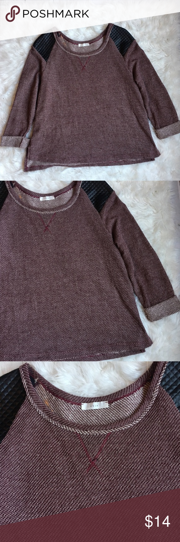 LUSH Maroon Faux Leather Patch Sweater A great lightweight sweater ...