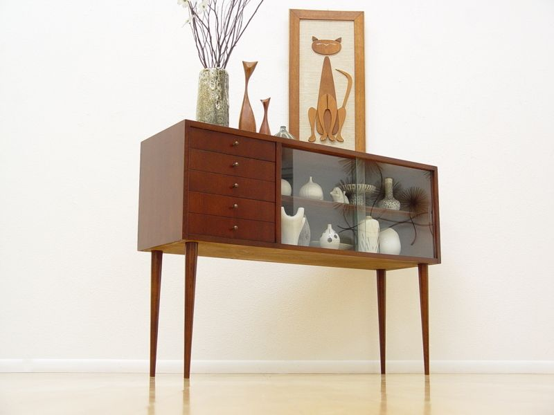 Danish Mid Century Modern Credenza Display Cabinet Eames Era Hollywood  Regency (yes   Yes