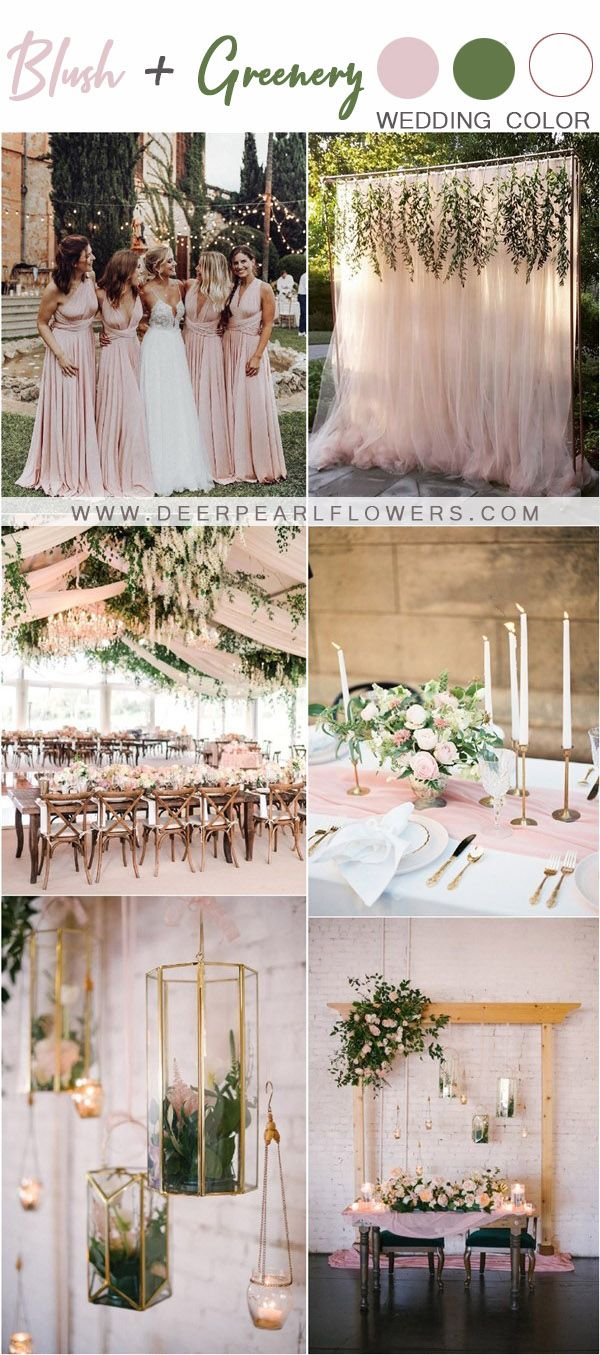Blush and greenery wedding color themes and ideas #wedidng #weddingideas #weddingcolors #deerpearlflowers