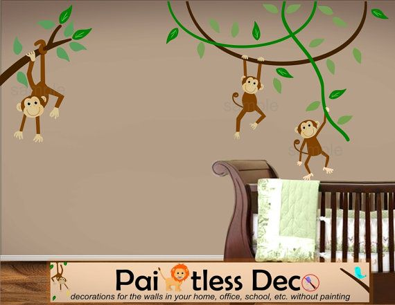 Swinging Monkeys Wall Decals Monkey Wall Stickers Jungle - Wall decals hd