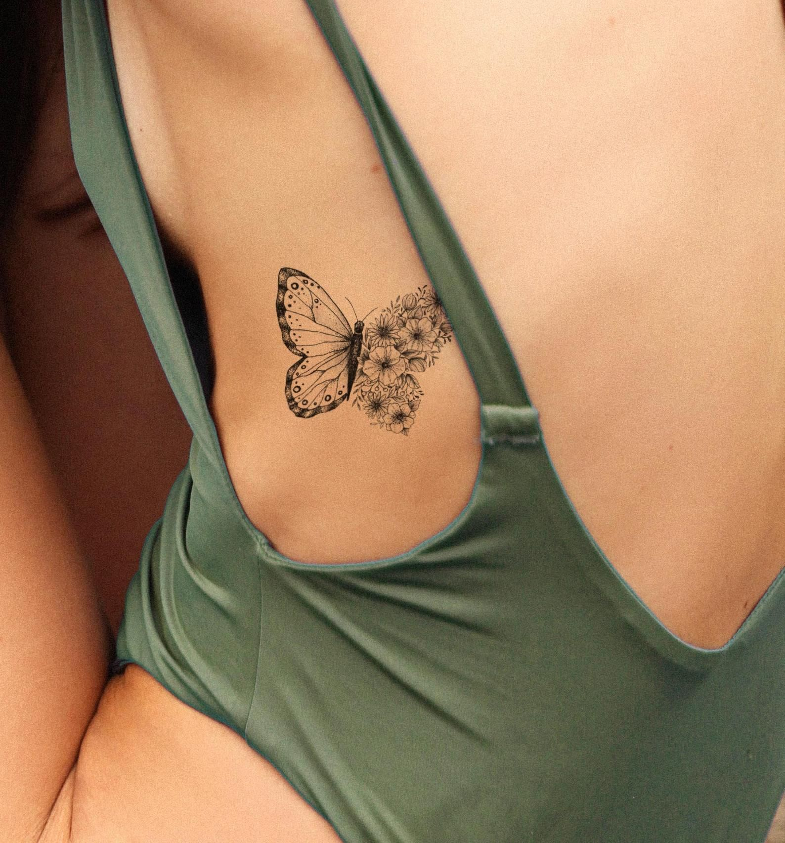 Butterfly Tattoo Fake Tattoo Black And White Butterflies Tattoo Girly Tattoo Big Tattoo Girl Temporary Tattoo By Temp Tat In 2020 White Butterfly Tattoo Girls Temporary Tattoos Girly Tattoos