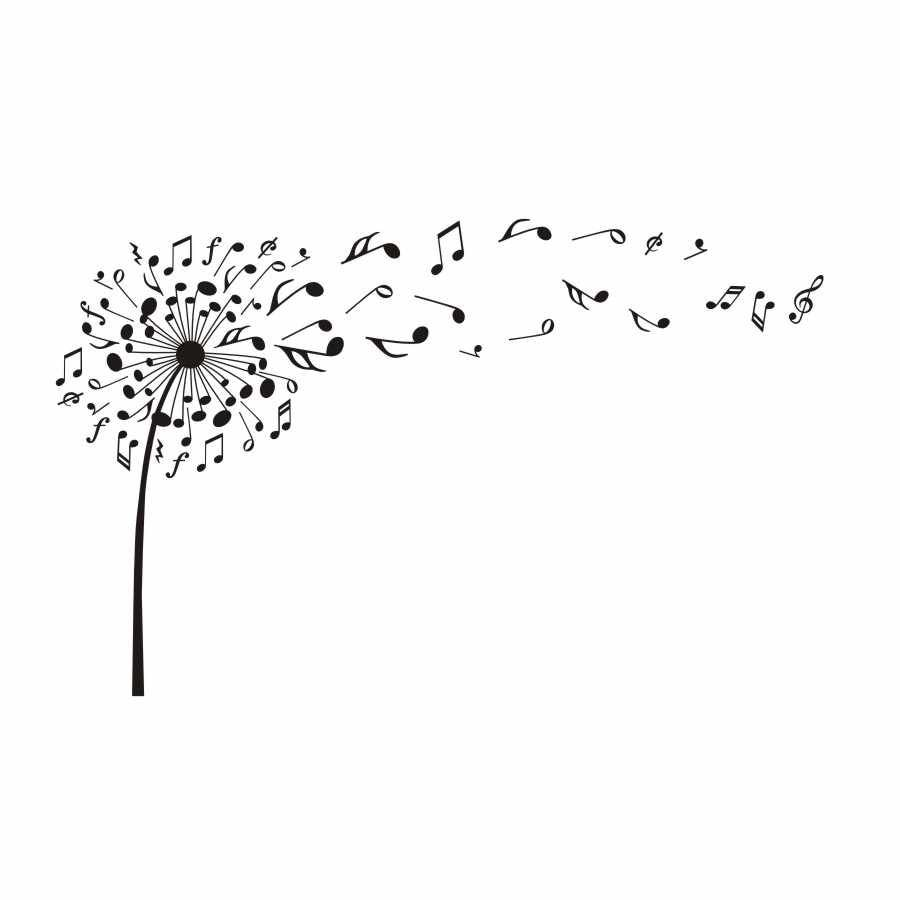 Creative Dandelion Music Notes Vinyl DIY Wall Stickers For Kids Room Nursery Dream Of Flying Posters Decals Wall Art Decoration images
