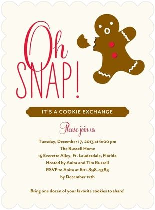 Funny ginger bread man party invite good for cookie exchange and