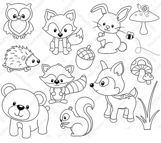 woodland animal coloring pages Woodland animals color page | I meant to do my work today  woodland animal coloring pages