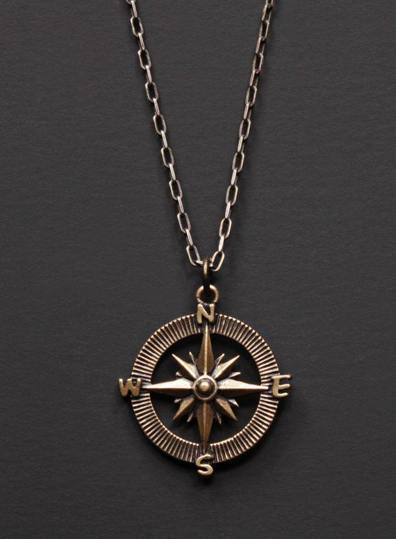 a13ad0693f5b Compass Necklace for Men - Bronze Pendant necklace for Men - Sterling silver  cable chain necklace -