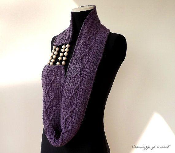 DivaInfinity Scarf Crochet Purple Wool by ChronologyOfCrochet,