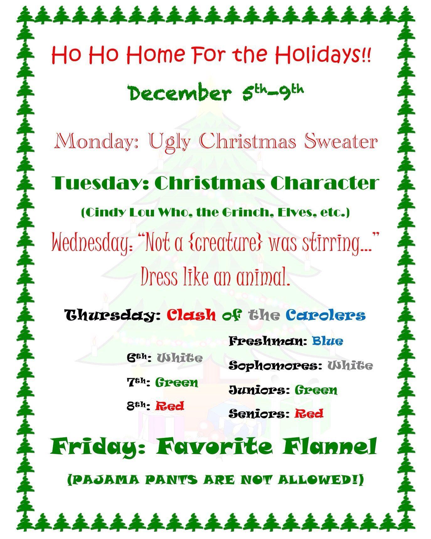 christmas dress up days! characterdayspiritweek