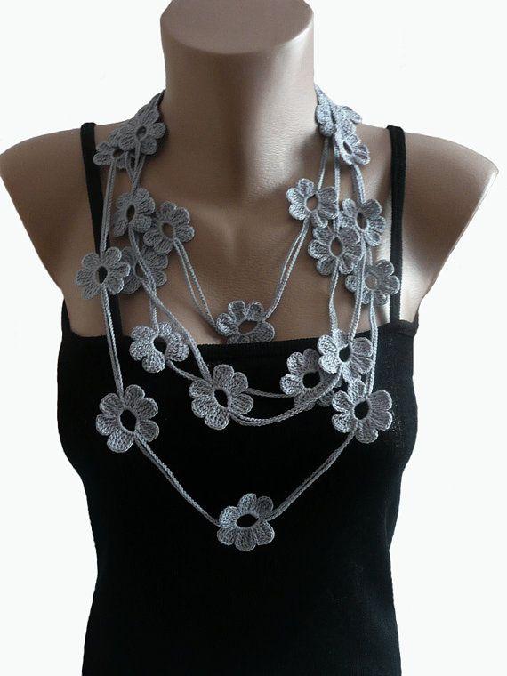 Grey Crochet Lariat Scarf Necklace, Crochet Flower Necklace, Strand necklace, Eco friendly, Bracelet,  Woma