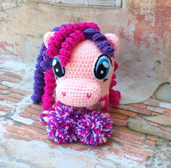 Crochet pony hat.Pink purple pony hat. #crochetpony