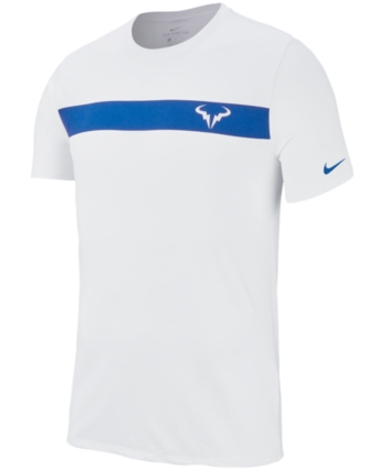 Nike Men S Court Dry Rafa Logo T Shirt White Blue 2xl Nike Men Tshirt Logo T Shirt