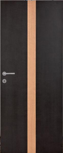 Porte intérieure contemporaine mdf noir insert vernis naturel mat ...