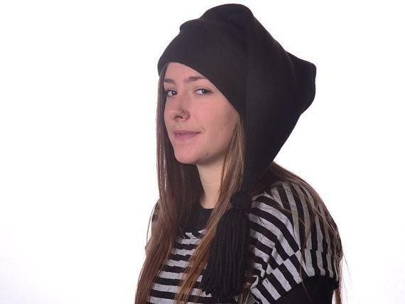 Goth Black Toboggan Hat Black Brim Tassel Long Pointed Mens Women Elf Cap  Stocking Cap by MountainGoth 1c1d8236c93