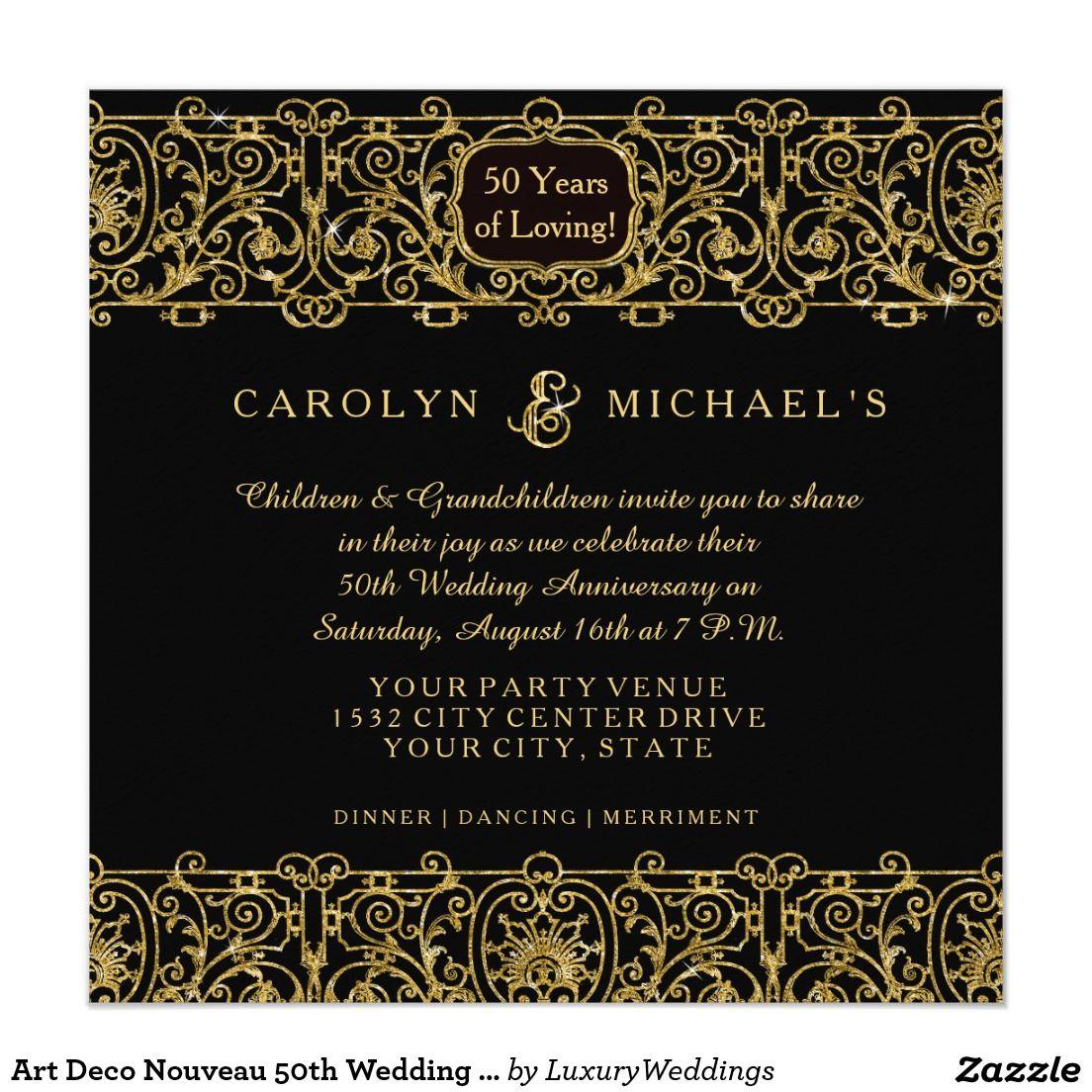 Art Deco Nouveau 50th Wedding Anniversary Party Card Anniversary