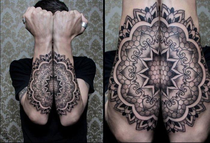 Line Art Tattoos : Awesome arm mandala tattoo design whole appreciate the shading