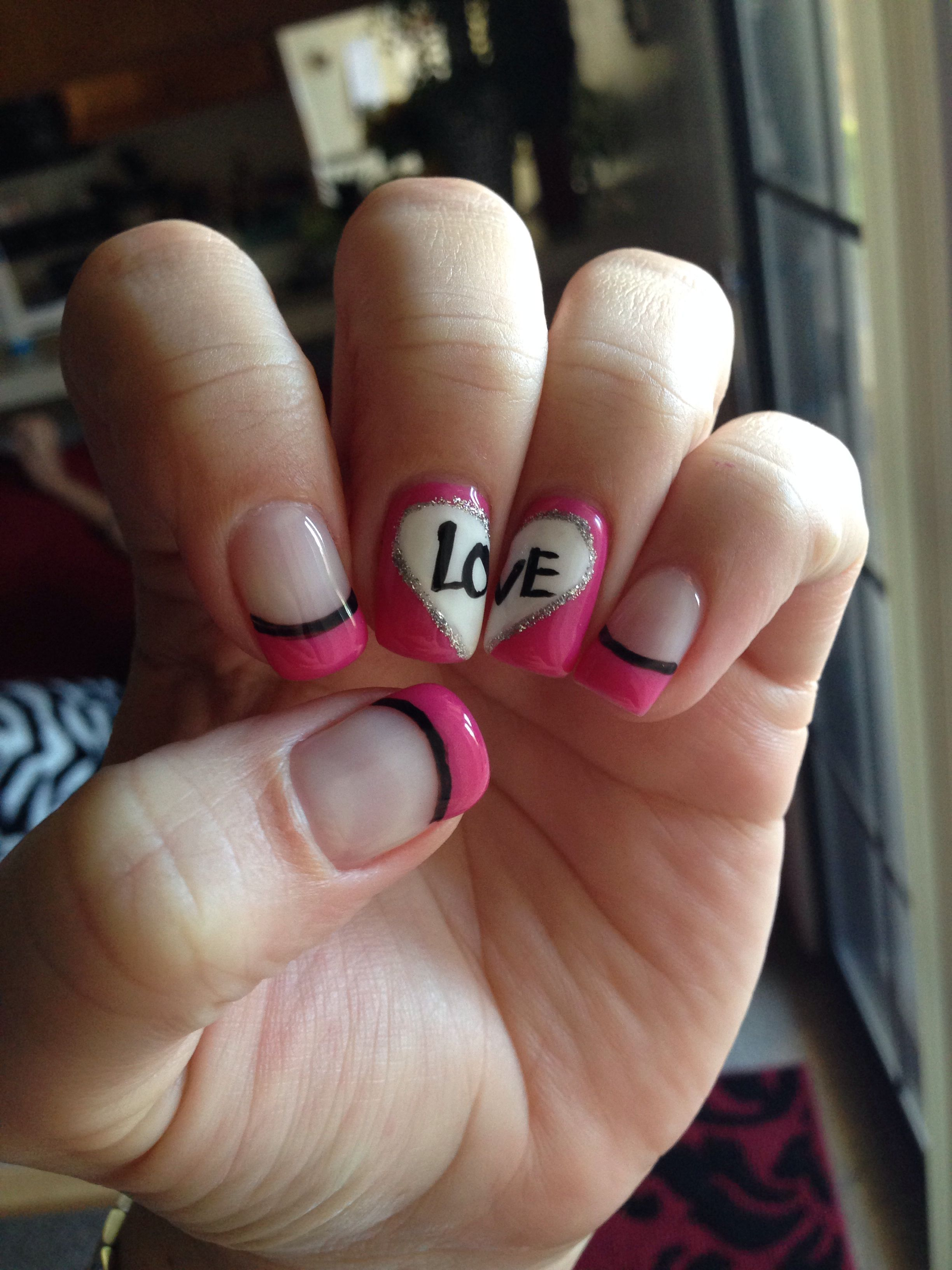 Pink And Black Love Nails Hearts By Lena