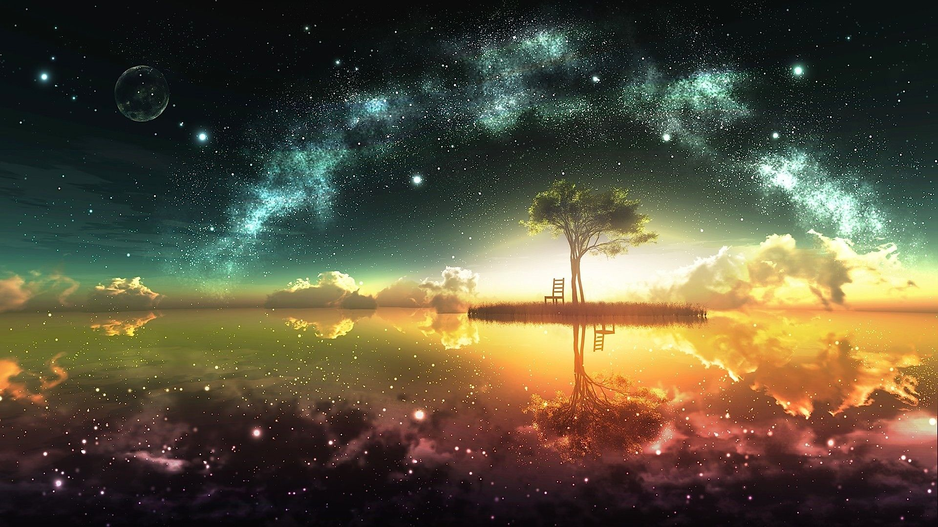 Tiny Island And Starry Night wallpaper
