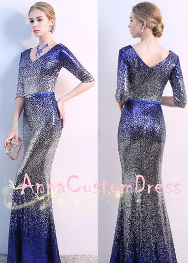 Mermaid V-neck Royal Blue Silver Sequin Long Prom Dress 2018 Half Sleeves e67b8ccf7fd5