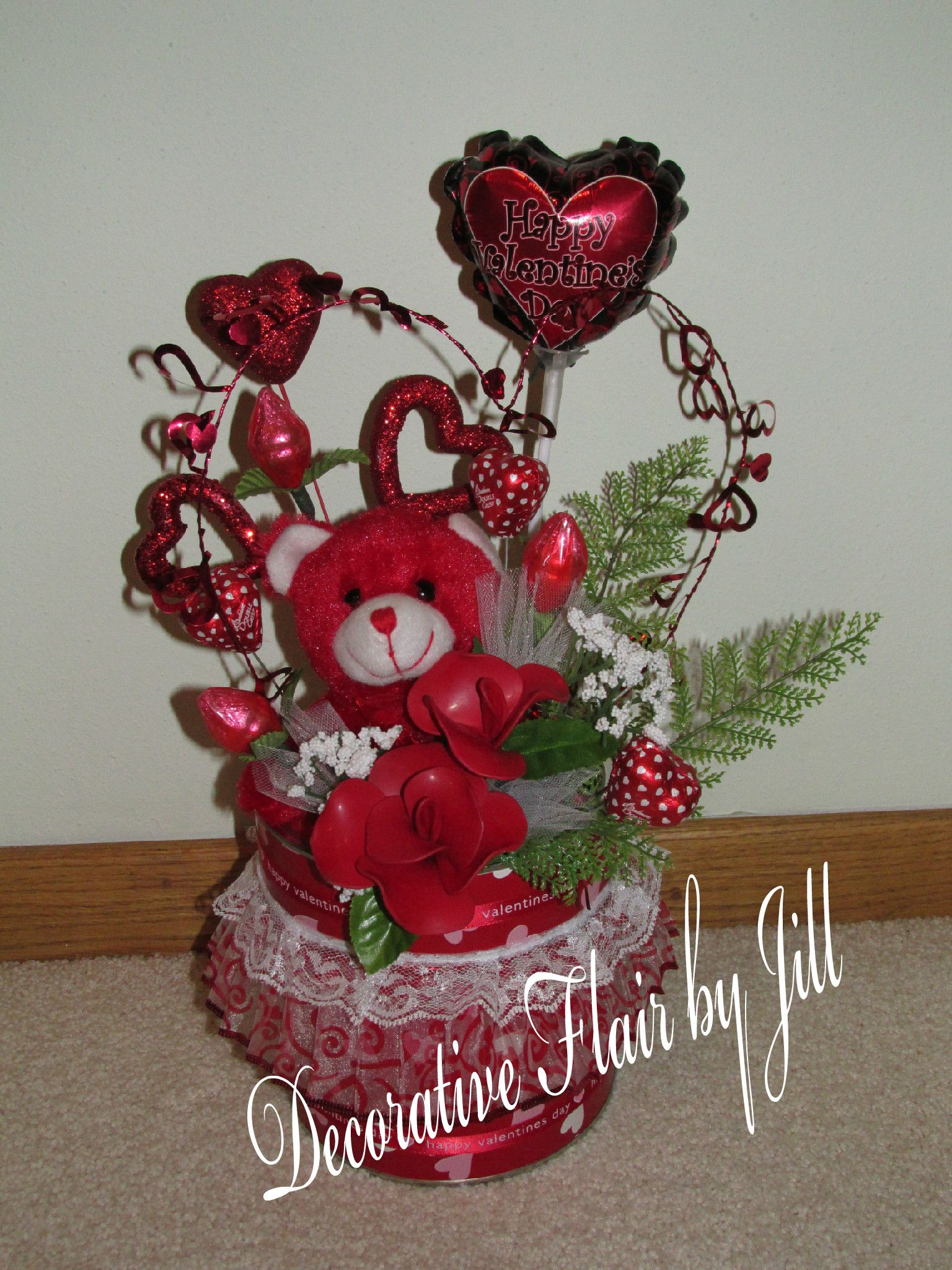 Large Valentine arrangement with edible candy, balloon