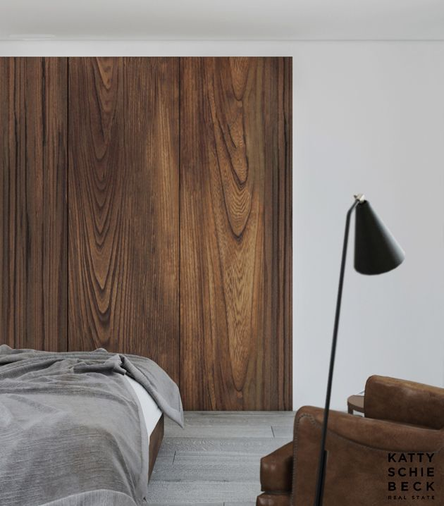 Bedroom Decor With Walnut Wood Paneling For Walls