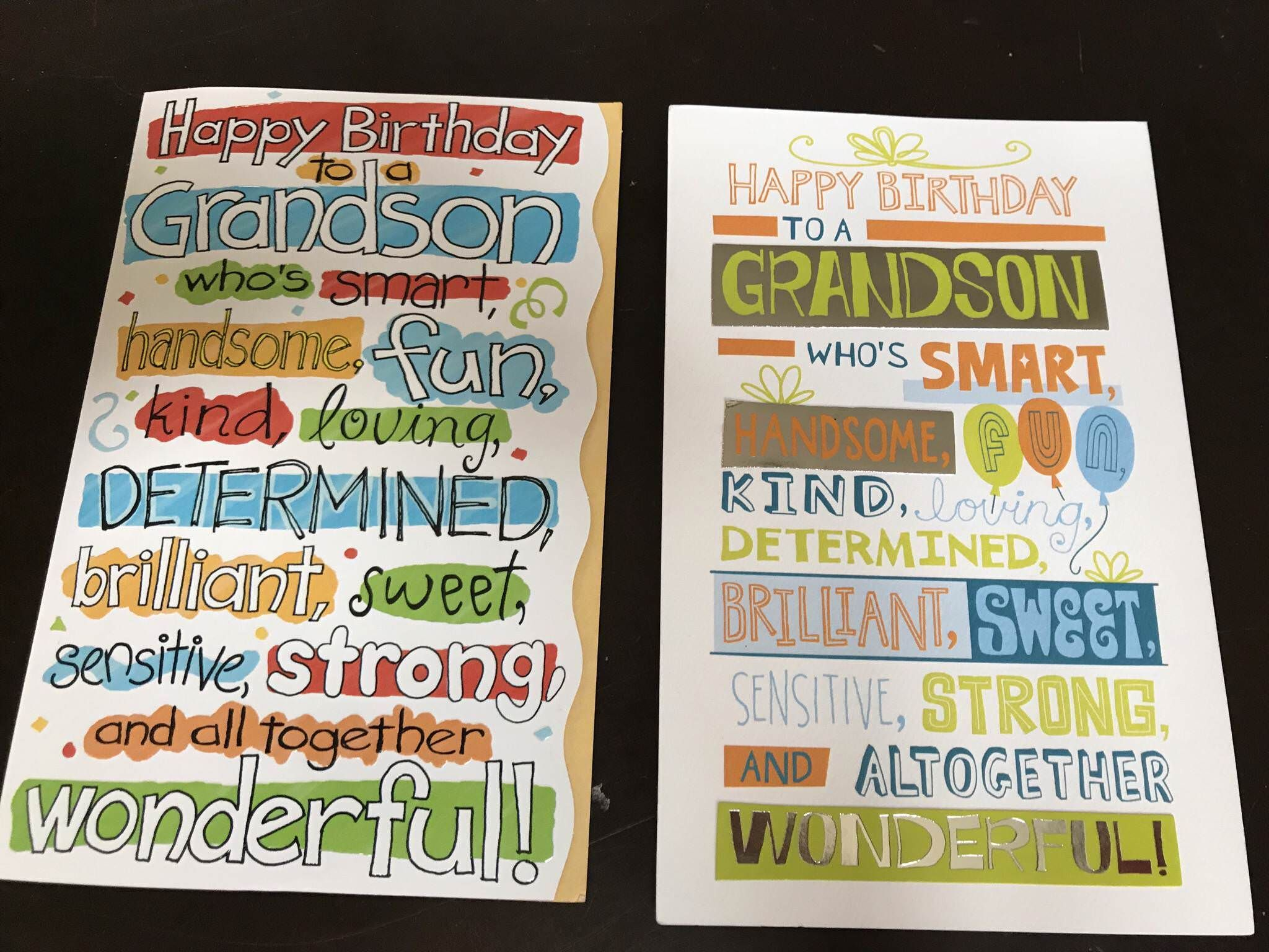 My son received birthday cards from both sets of grandparents who