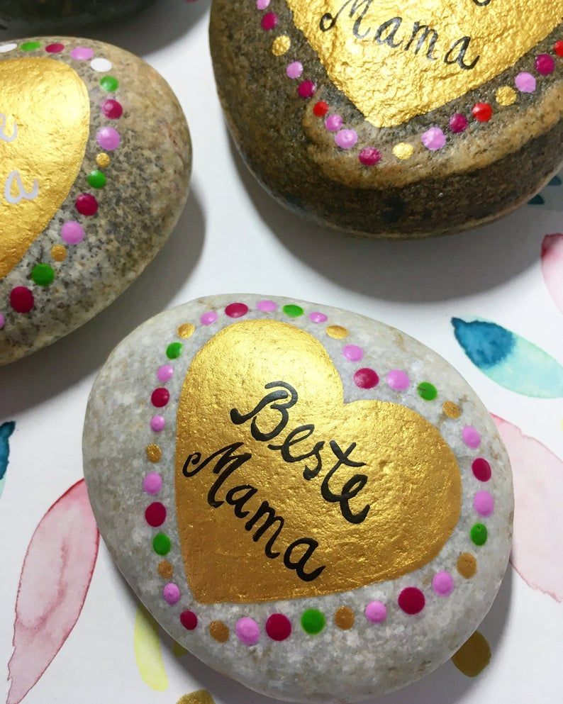 Mother's Day Stone Best Mom Best Mom Best Grandma Mom Hand Painted Text As Desired, Desired Colors Dedication Gift