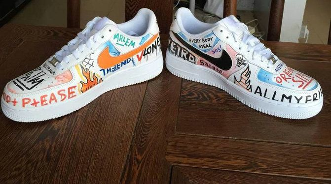 NIKE X VLONE PAULY Young Big Boys AIR FORCE 1 LOW WHITE