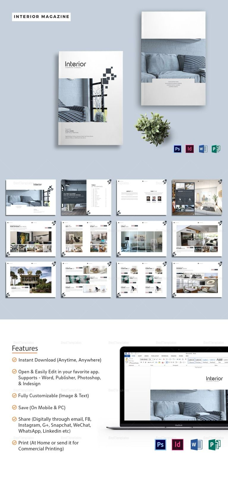 Printable Interior Design Magazine Template Available In Indesign Ms Word Publisher Photo