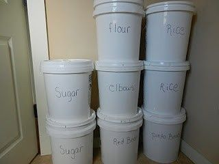 we use good sealing paint buckets for storing bulk items like wheat