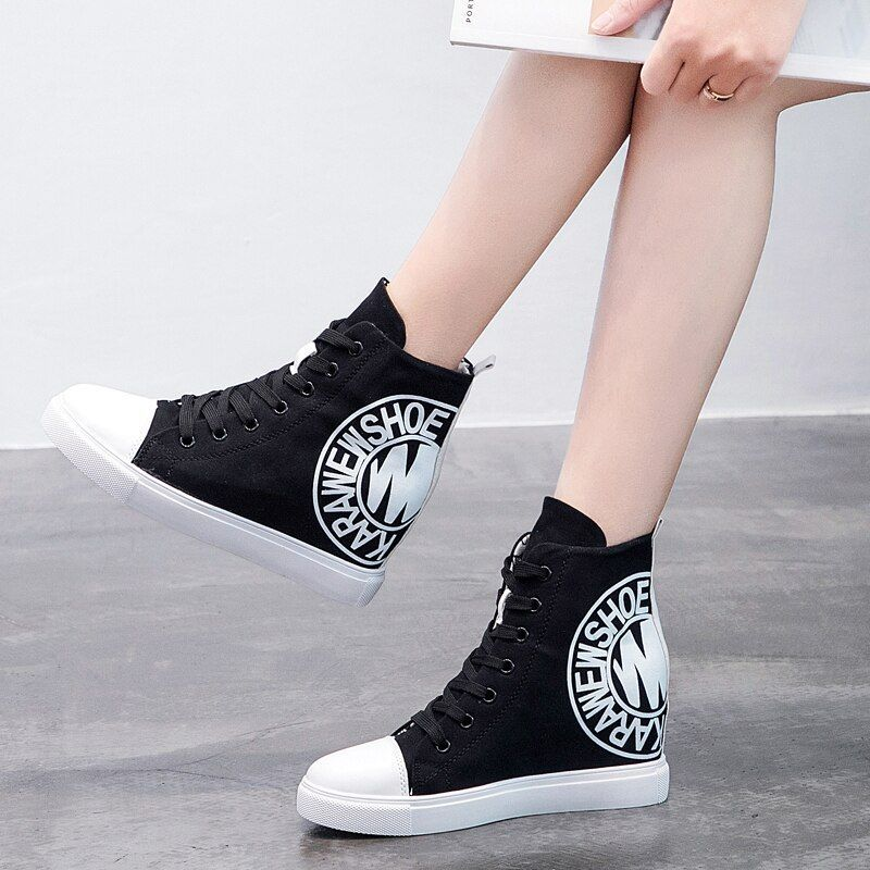 2018 Wedge High Heels Thick Soled High Top Ladies Casual Shoes Women Platform Canvas Shoes Hidden W#canvas
