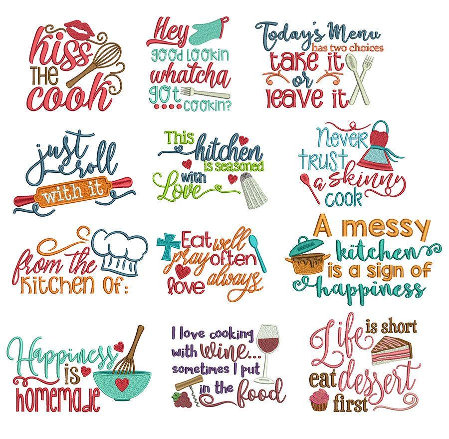 Kitchen Word Art | Machine embroidery patterns, Machine ...