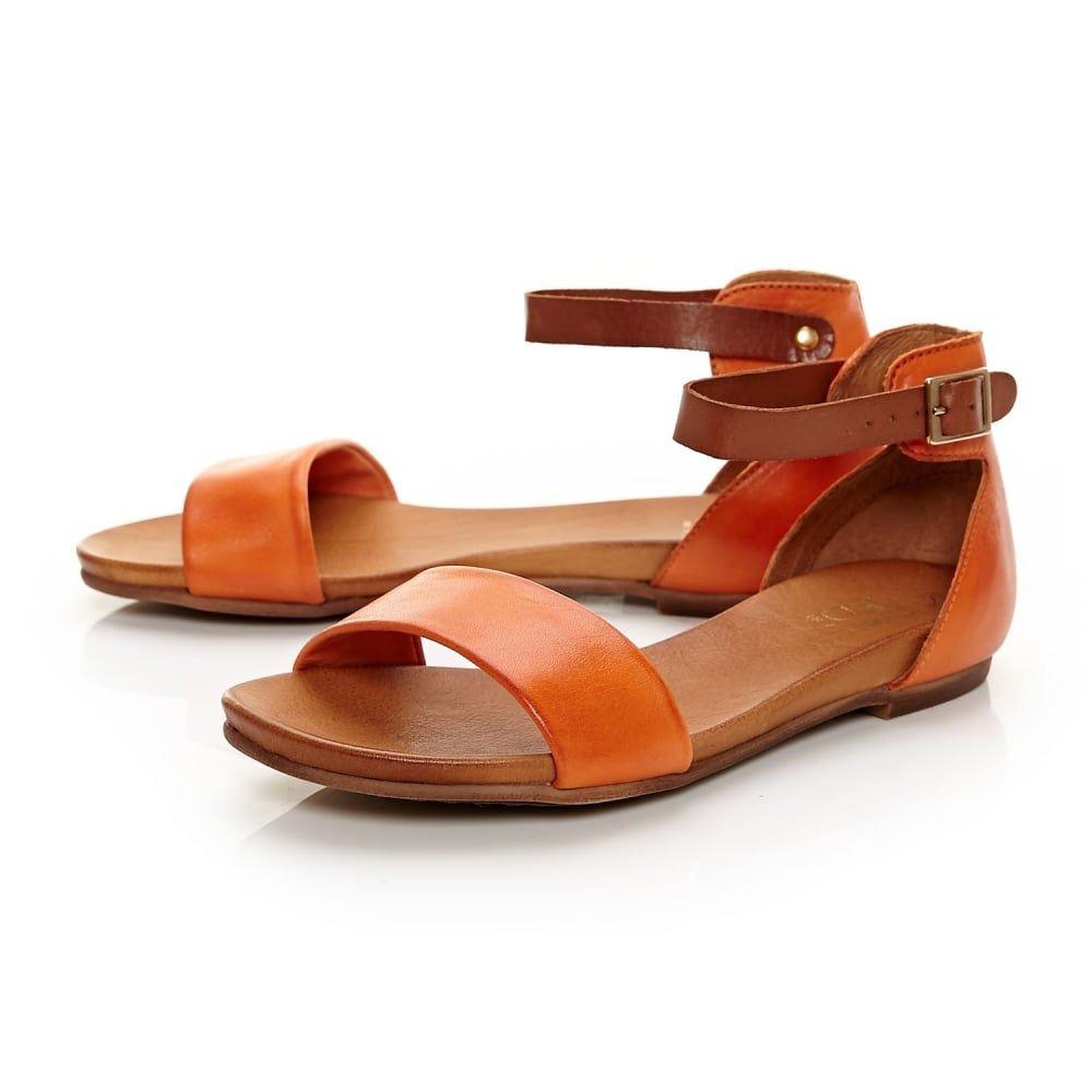 0b4640aab27d26 Noelle Orange Leather Moda In Pelle