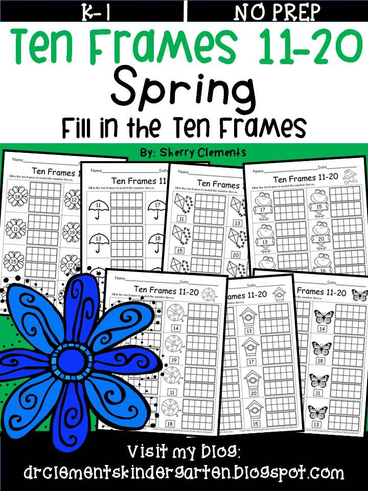 Ten Frames 11 20 Spring Fill In The Ten Frames Math Centers Small Groups Rti Kindergarten And First Grade M Ten Frames Sherry Clements Addition Words