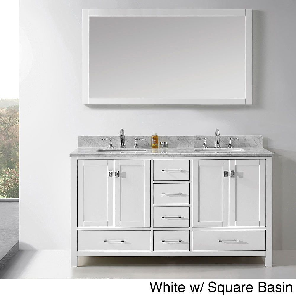 Virtu Usa Caroline Avenue 60 Inch Double Sink Bathroom Vanity Set White Finish W