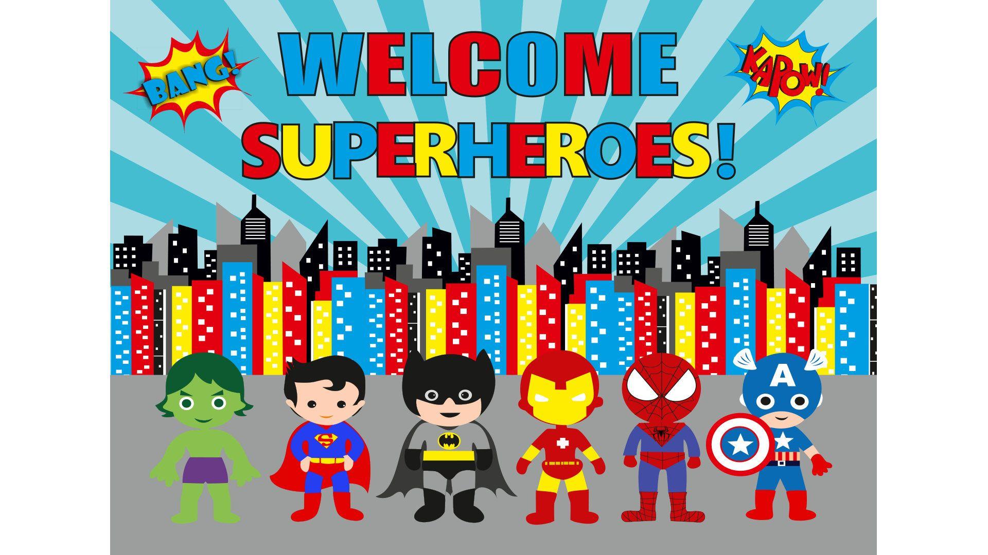Superhero Wallpaper Backdrop Printable Superhero Decoration Superhero Party Supplies Super Hero Theme Super Hero Birthday Decoration Decoraciones De Super Heroes Fiesta De Spiderman Decoracion Decoraciones De Fiestas Para Bebes