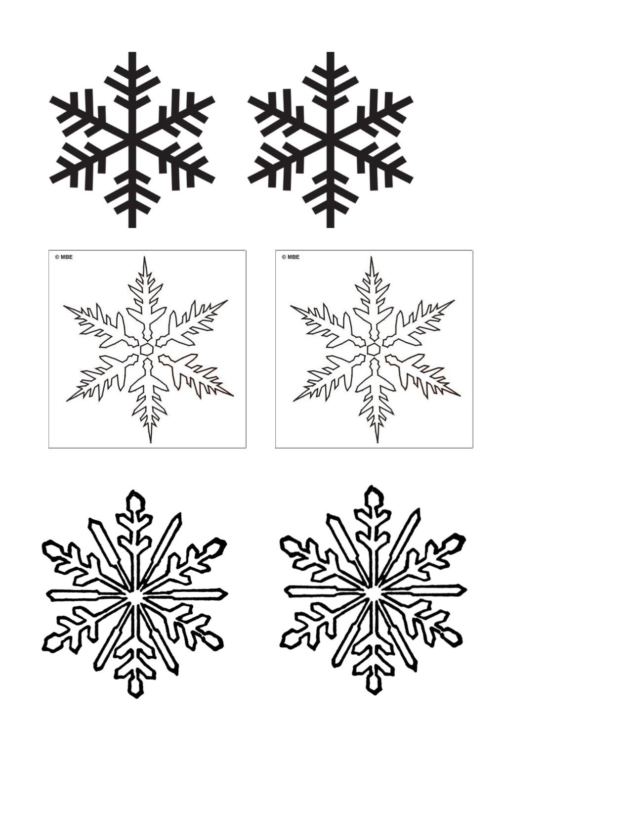 snowflake matching game template print out amp cut out