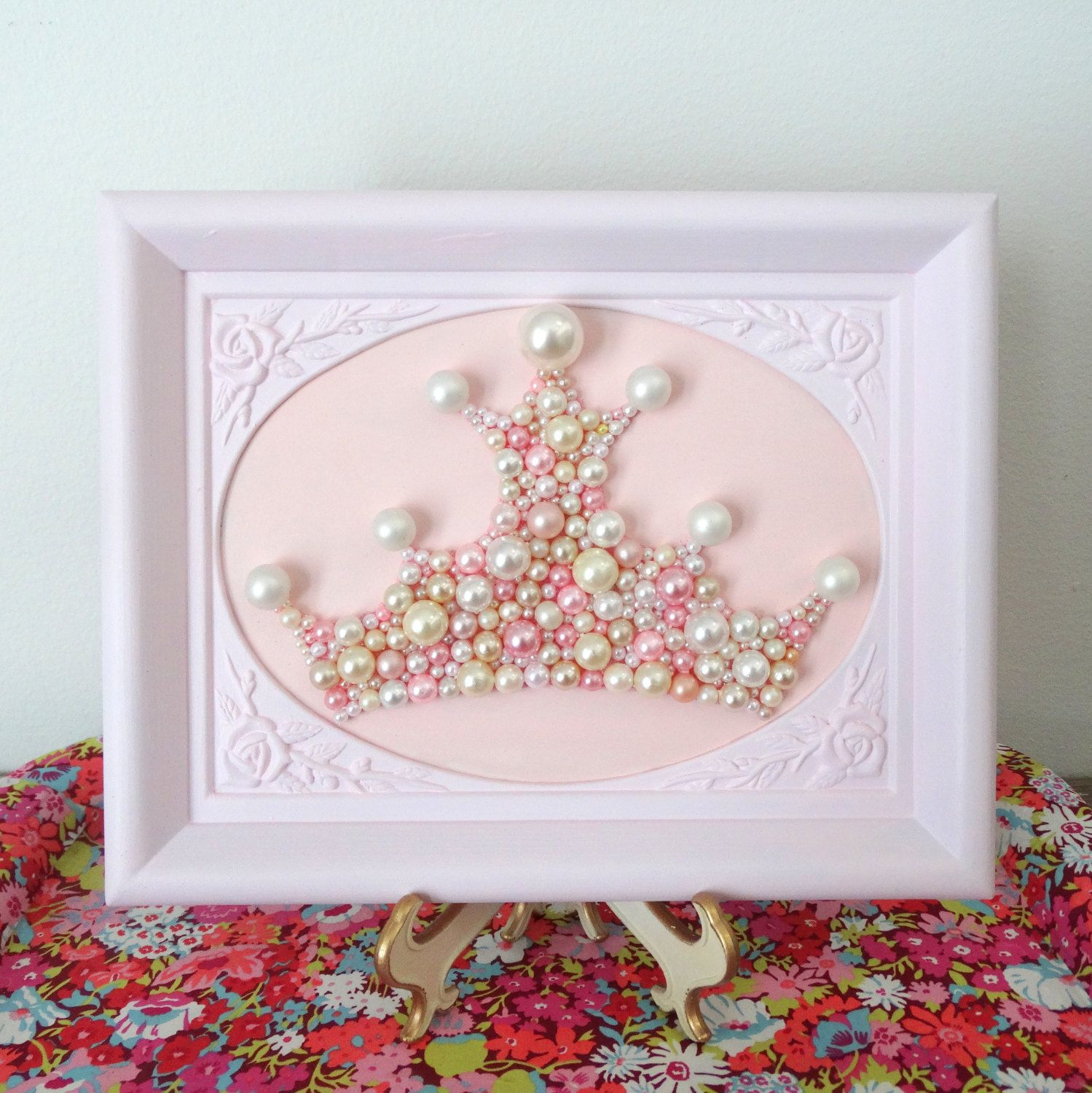 Princess crown wall art pearl mosaic rose pink ornate framed art princess crown wall art pearl mosaic rose pink ornate framed art girls nursery amipublicfo Image collections