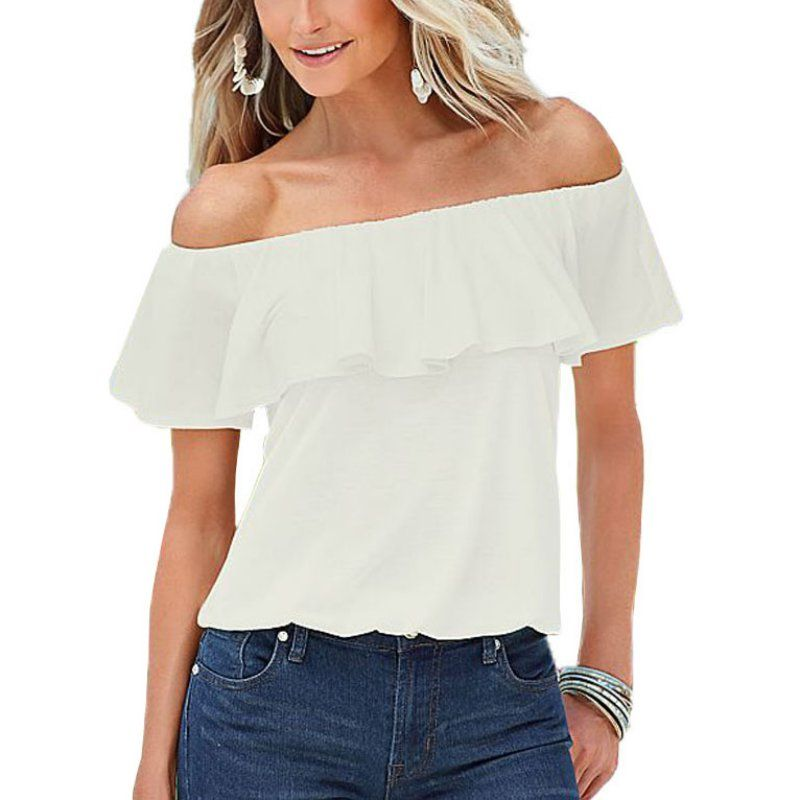 123f2fa3834e New Sexy Women Blouses off the Shoulder Elastic Slash Neck Casual Top  Shirts White Pink Women
