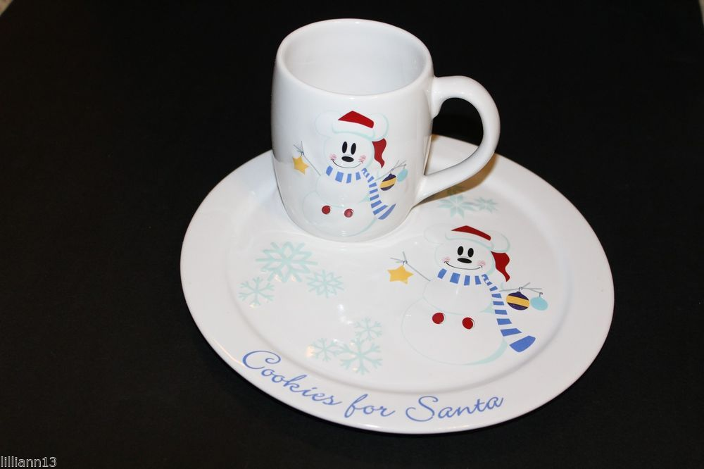Disney Store Cookies and Milk for Santa Set Mickey Mouse Snowman Cup ...
