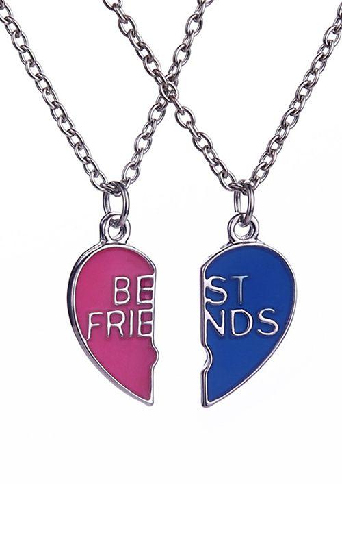 Best Friends Necklace 2 Colors Long Chain Friendship Necklace Friend Necklaces Best Friend Necklaces Pendant Necklace