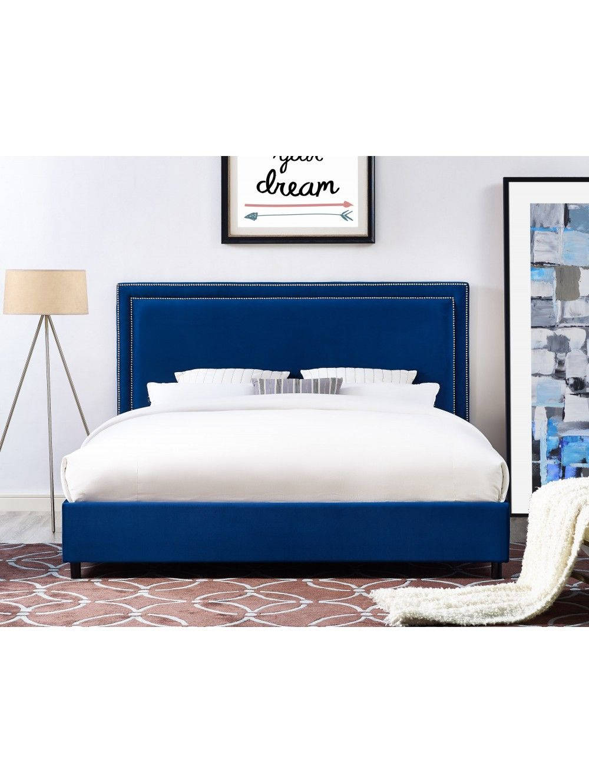 Favera Velvet Bed Navy Velvet Bed Upholstered Platform Bed Bed